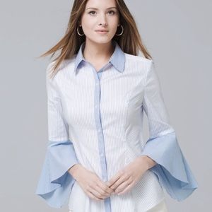WHBM Blue Striped Button Down Bell Sleeve Shirt 12